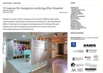 10 lessons for designers working after disasters – Barnaby Bennett